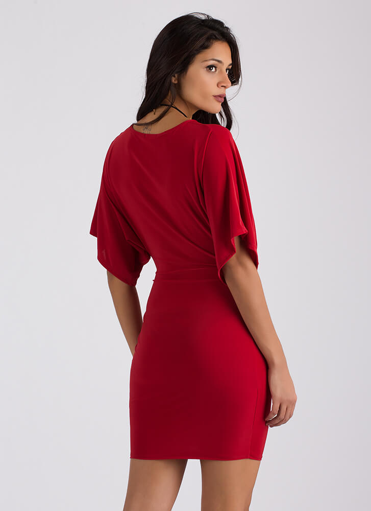 Easy Elegance Knotted Dolman Dress RED