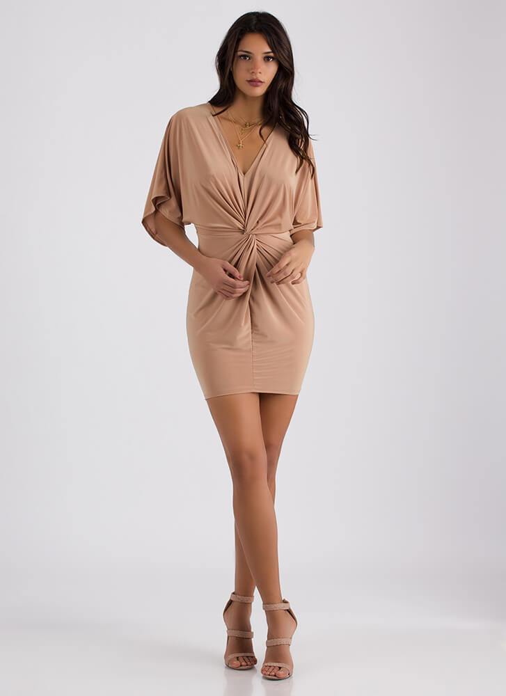 Easy Elegance Knotted Dolman Dress TAUPE