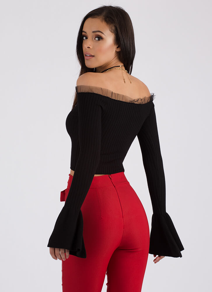 What A Frill Ribbed Off-Shoulder Top BLACK