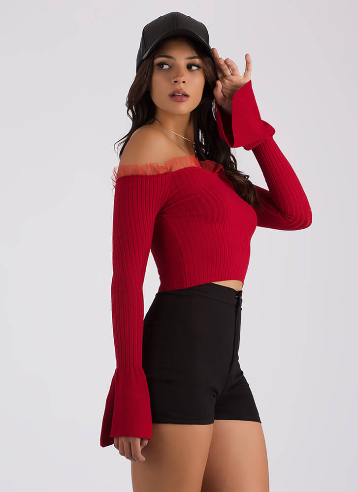 What A Frill Ribbed Off-Shoulder Top RED