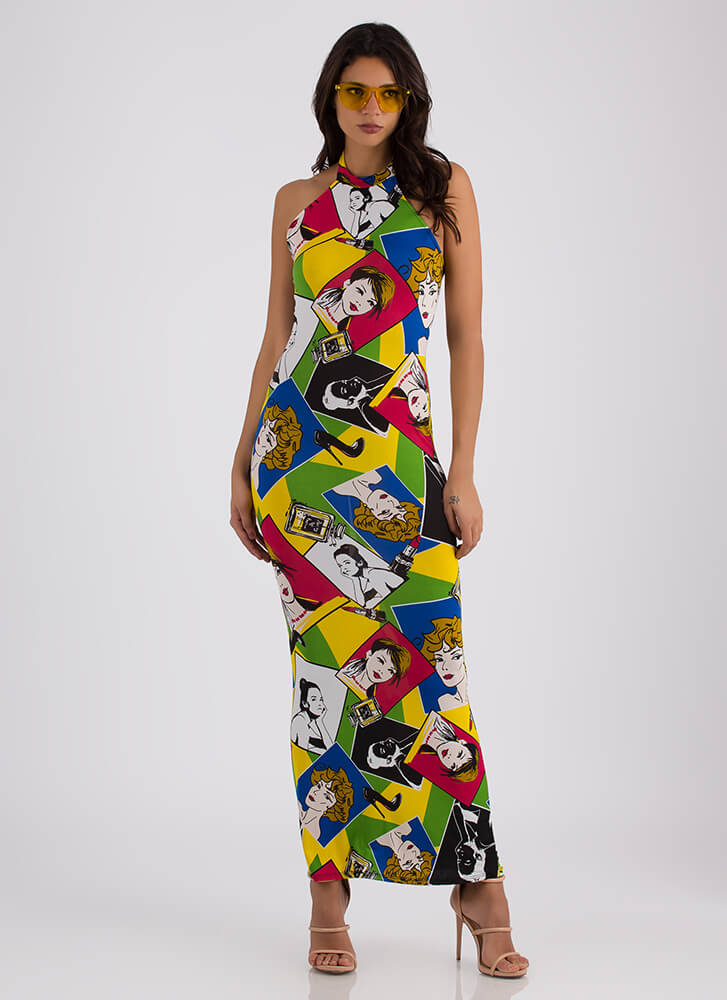 Girl Talk Cartoon Print Halter Maxi MULTI