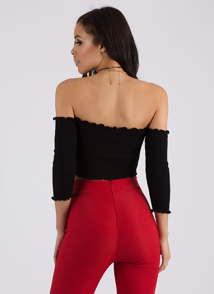 Frilled To Bits Off-Shoulder Crop Top BLACK