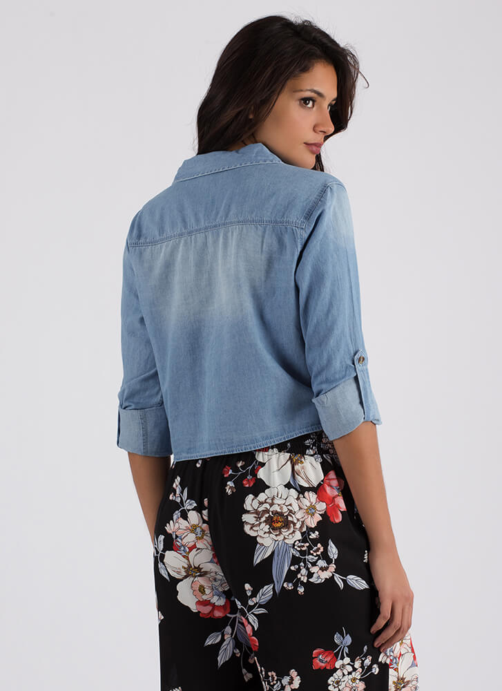 Short Story Button-Up Chambray Crop Top BLUE
