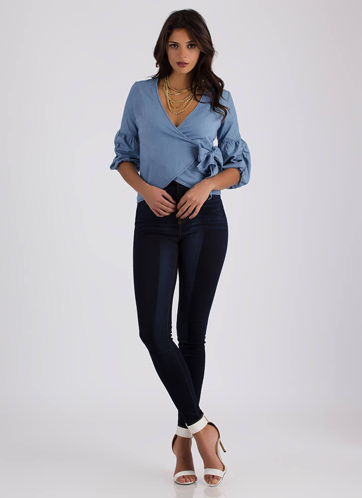 Denim Dream Wrapped Chambray Top LTBLUE