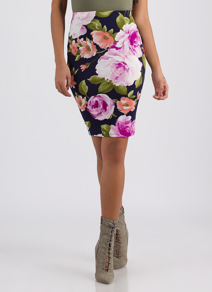 Blooming Garden Floral Pencil Skirt NAVY