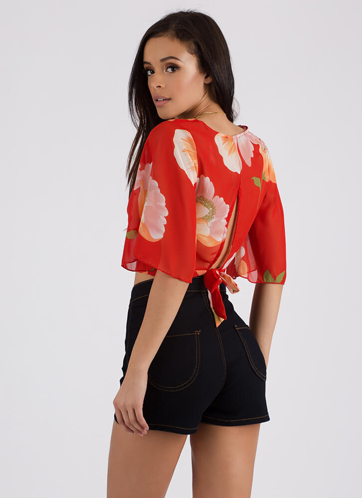 Big Blooms Floral Split Back Crop Top SCARLET