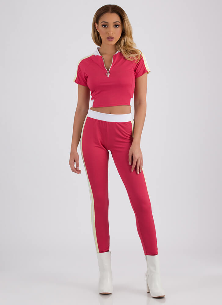 Get Sporty Striped Top And Legging Set FUCHSIA