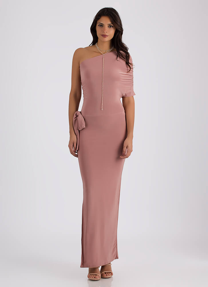 On Your Side Draped One-Shoulder Maxi MAUVE