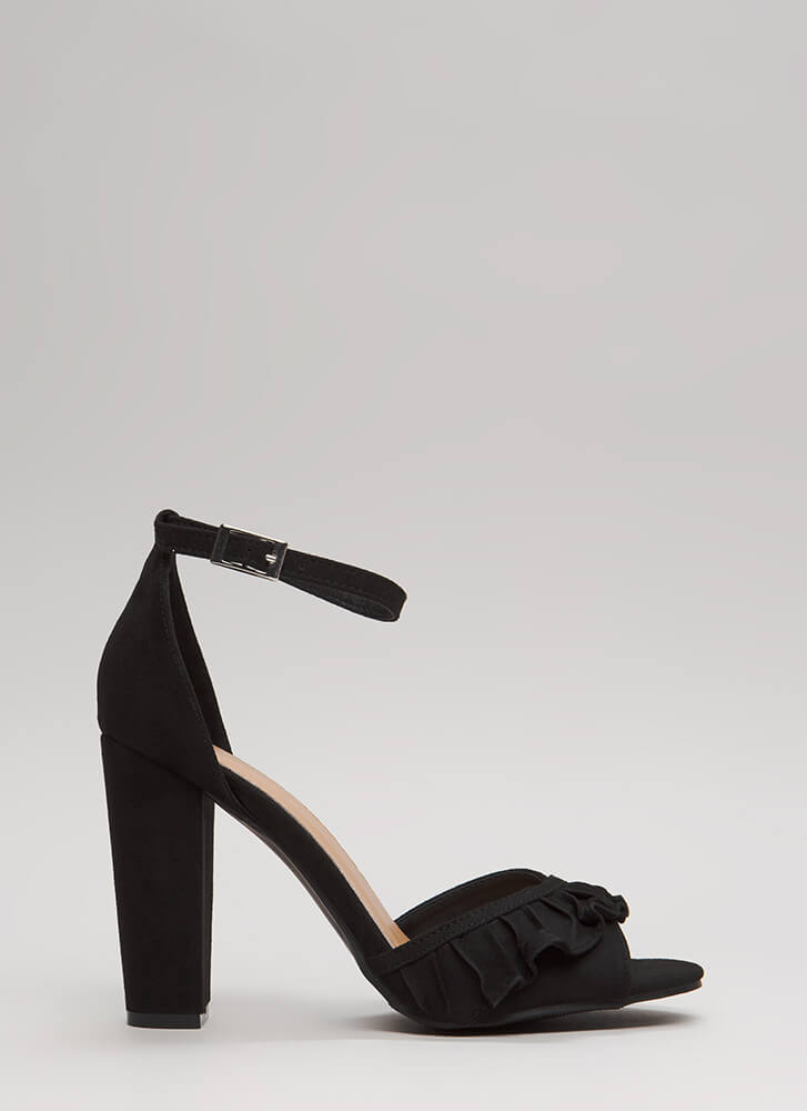 Ruffle Frenzy Strappy Faux Suede Heels BLACK