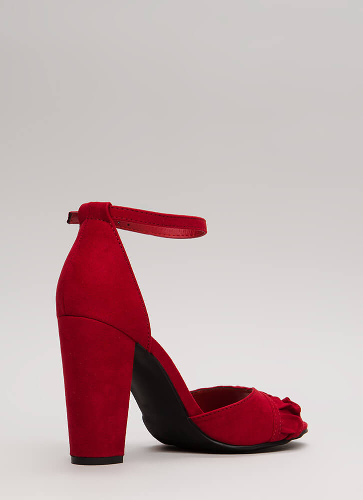 Ruffle Frenzy Strappy Faux Suede Heels RED