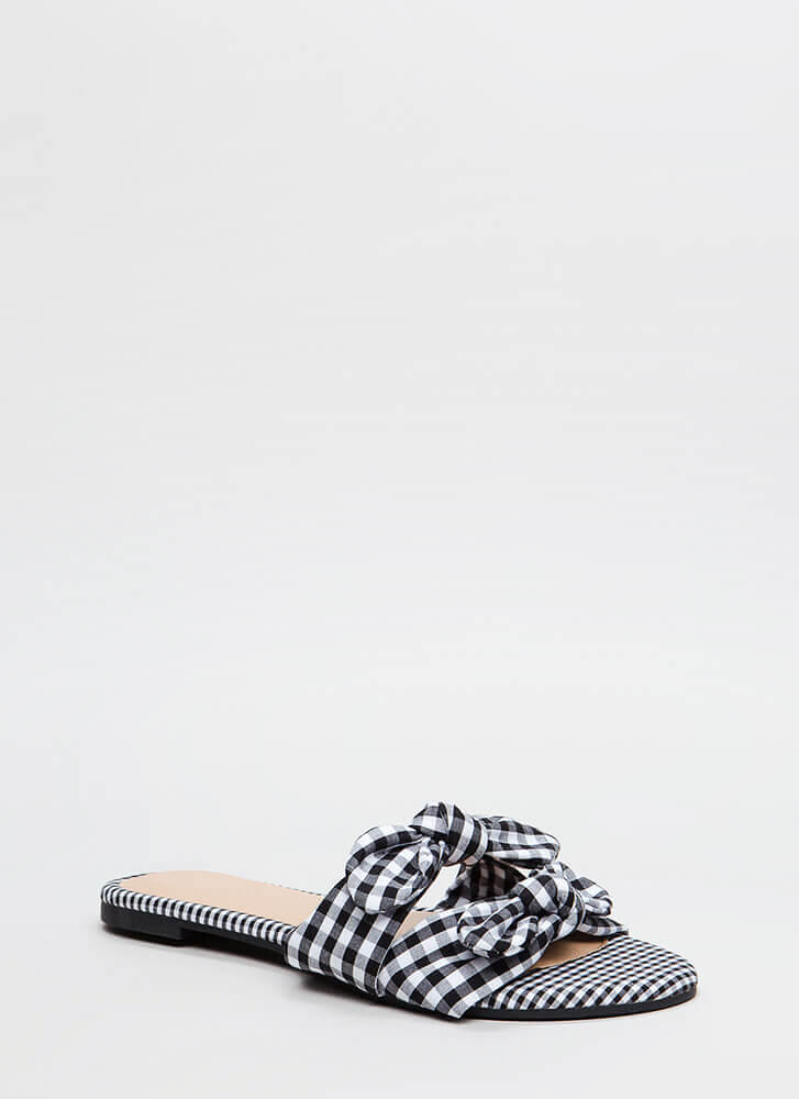 Picnic Ready Knotted Gingham Sandals BLACK