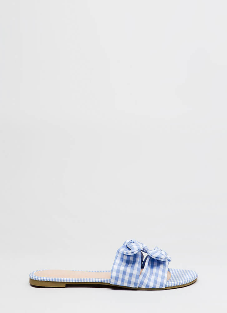 Picnic Ready Knotted Gingham Sandals BLUE