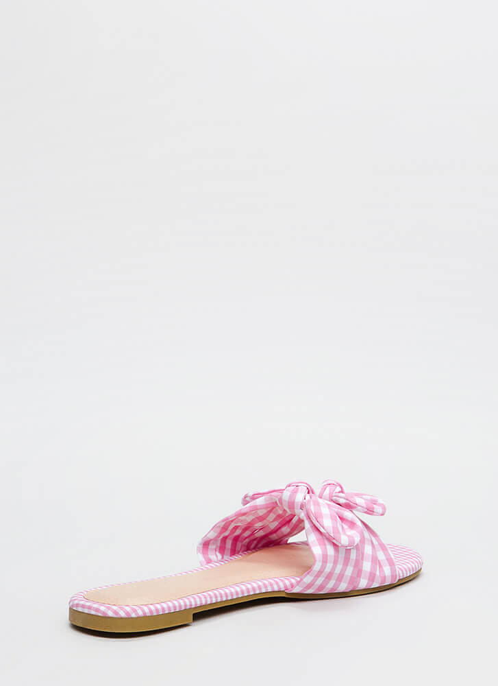 Picnic Ready Knotted Gingham Sandals PINK