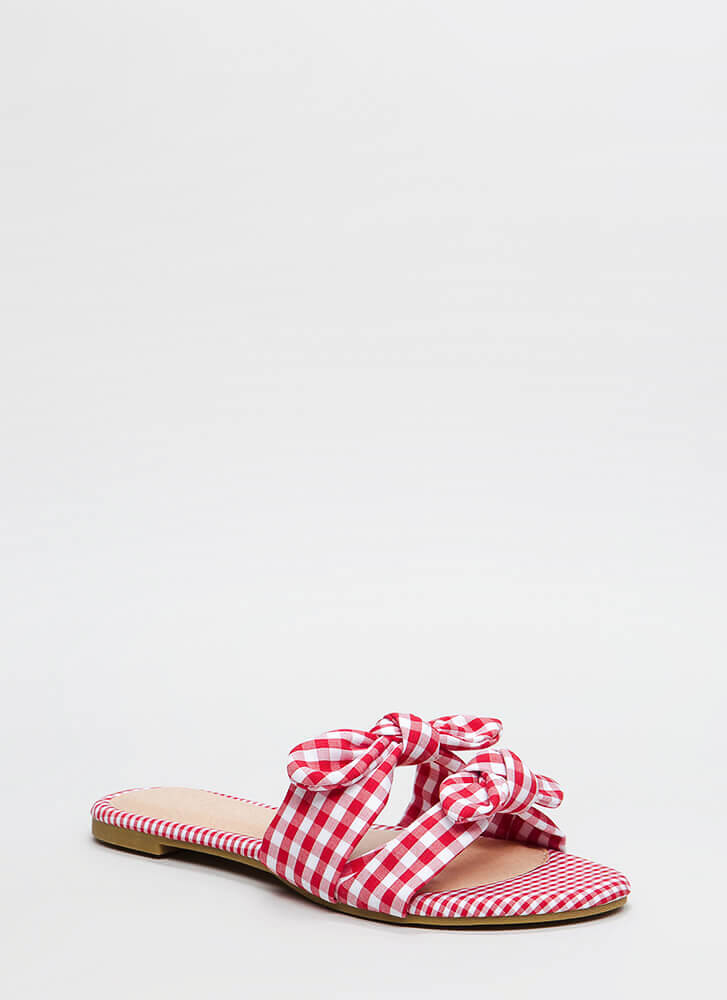 Picnic Ready Knotted Gingham Sandals RED