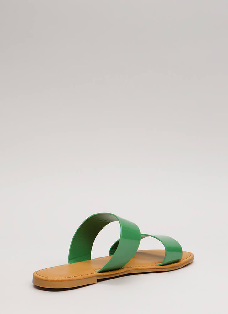 Easy Come Easy Go Faux Patent Sandals GREEN