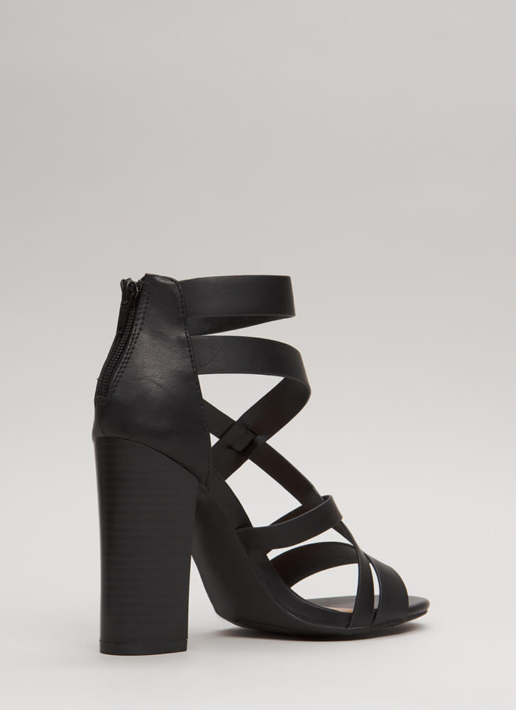 Cute And Cut-Out Chunky Caged Heels BLACK (Final Sale)