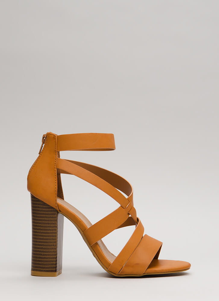 Cute And Cut-Out Chunky Caged Heels TAN