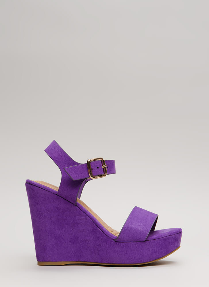 Anything Goes Faux Suede Wedges PURPLE (Final Sale)