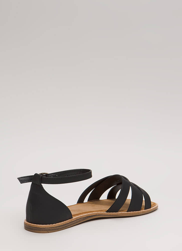 Strappy Superstar Faux Leather Sandals BLACK