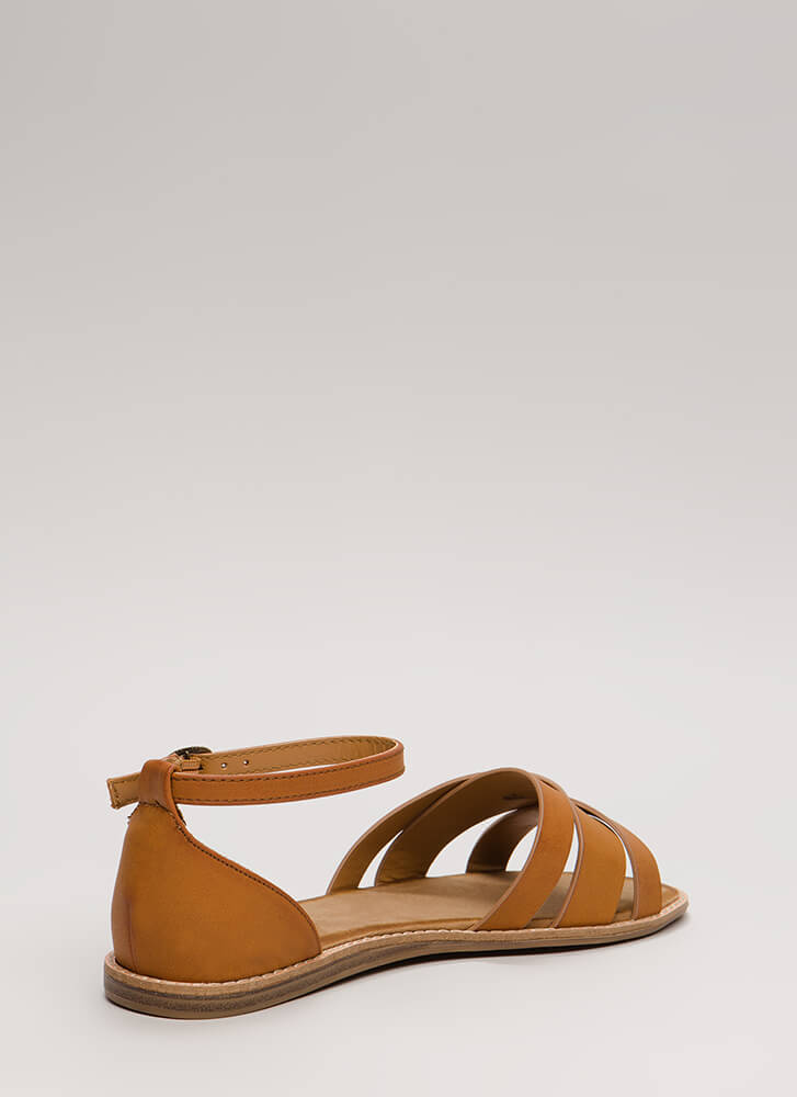 Strappy Superstar Faux Leather Sandals TAN