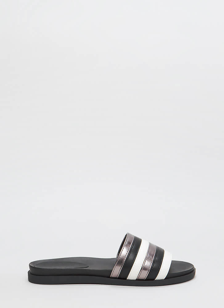 Fashion Mission Stacked Slide Sandals BLACKMULTI