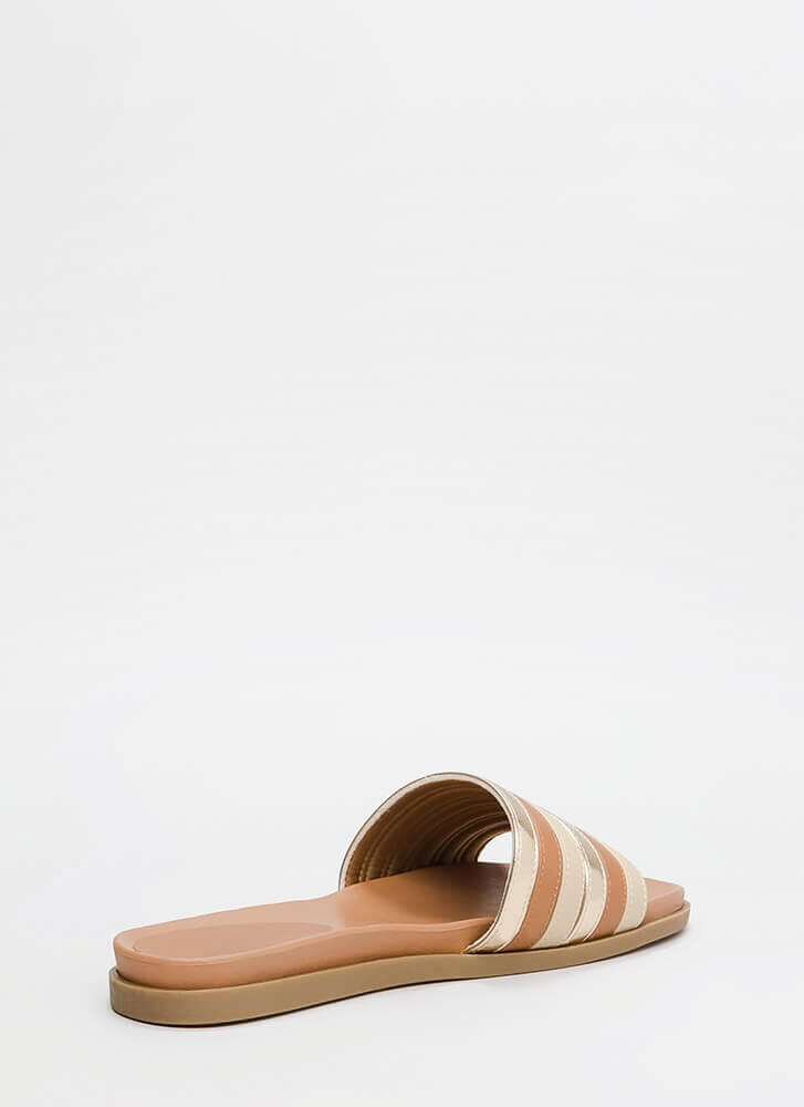 Fashion Mission Stacked Slide Sandals TANMULTI
