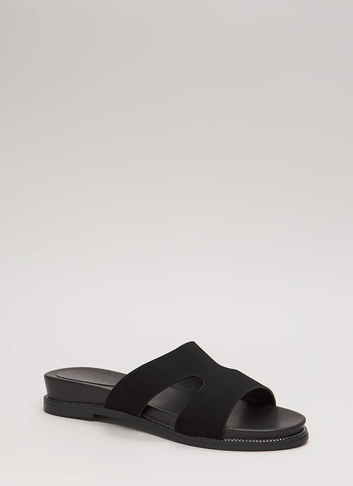 Reign Supreme Faux Nubuck Slide Sandals BLACK