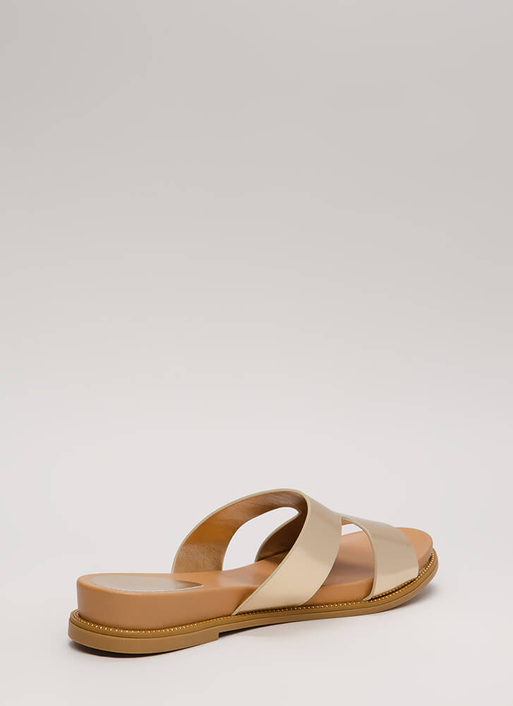 Reign Supreme Metallic Slide Sandals GOLD