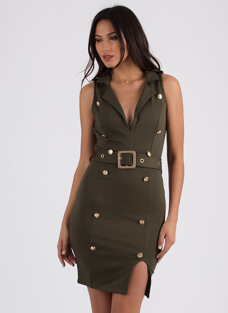 Push The Right Buttons Belted Dress OLIVE