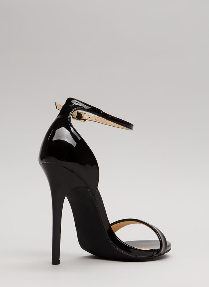 Stepping Out Strappy Faux Patent Heels BLACK