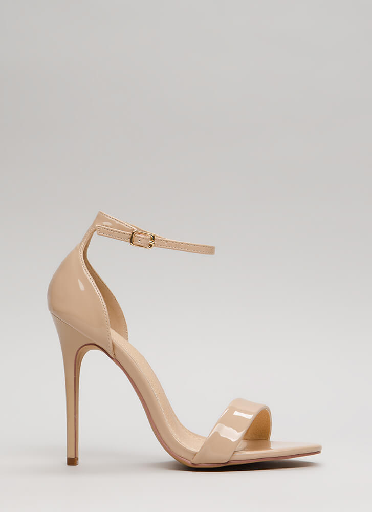 Stepping Out Strappy Faux Patent Heels NUDE