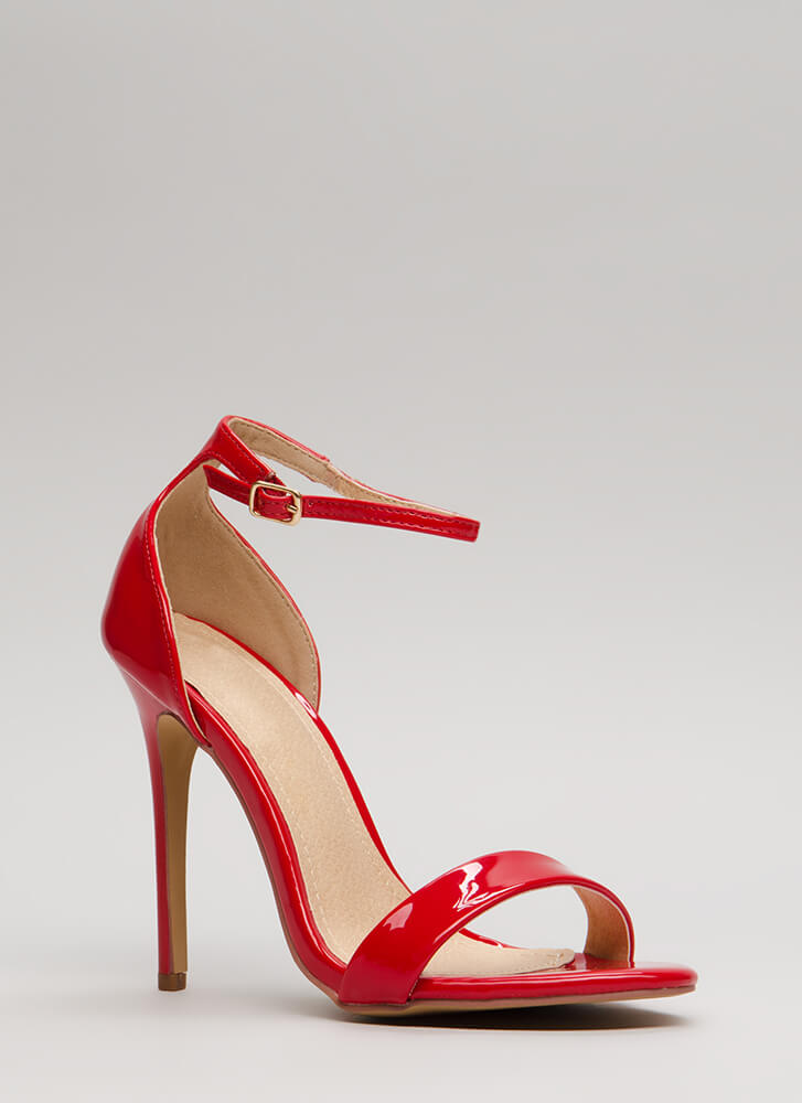 Stepping Out Strappy Faux Patent Heels RED
