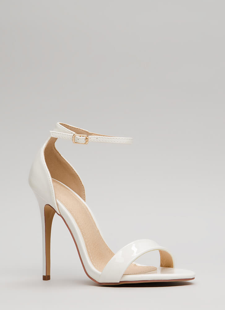 Stepping Out Strappy Faux Patent Heels WHITE