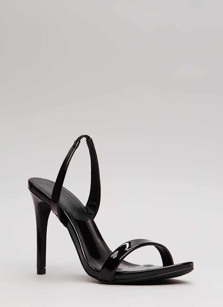 On The Go Faux Patent Slingback Heels BLACK (Final Sale)