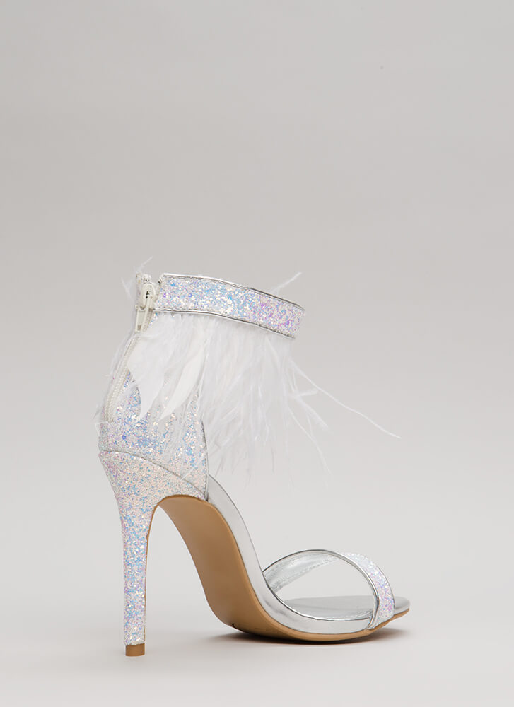 Feather Channel Glittery Heels SILVER