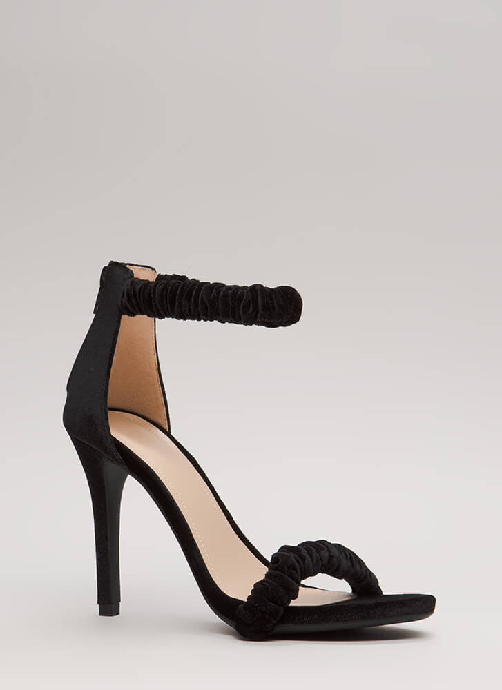 It's Scrunch Time Velvet Heels BLACK