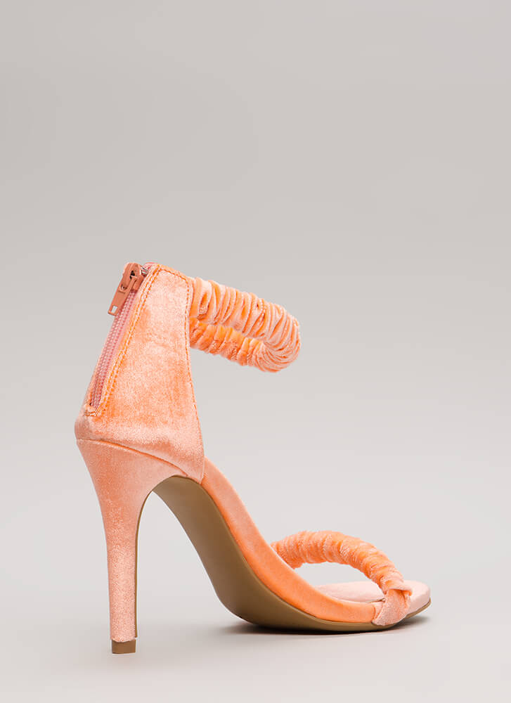 It's Scrunch Time Velvet Heels ORANGE