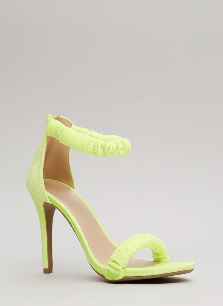 It's Scrunch Time Velvet Heels YELLOW