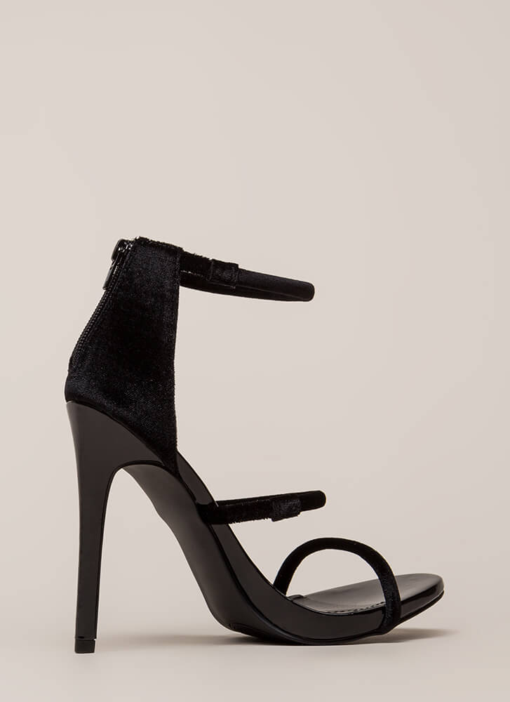 Three-Way Call Strappy Velvet Heels BLACK