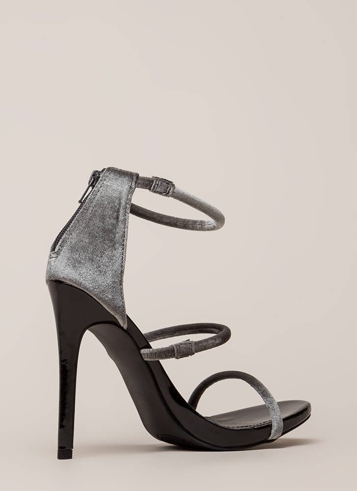 Three-Way Call Strappy Velvet Heels GREY