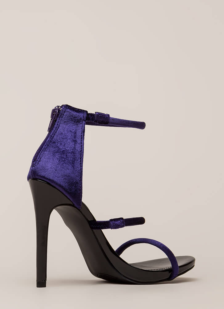 Three-Way Call Strappy Velvet Heels PURPLE