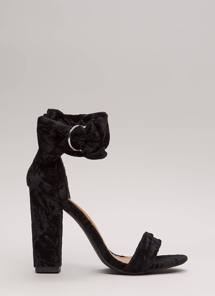 You're Plushing Velvet Ankle Cuff Heels BLACK