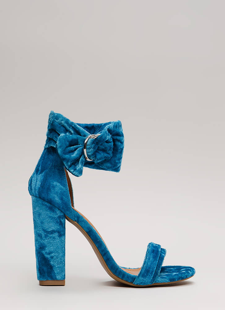 You're Plushing Velvet Ankle Cuff Heels BLUE