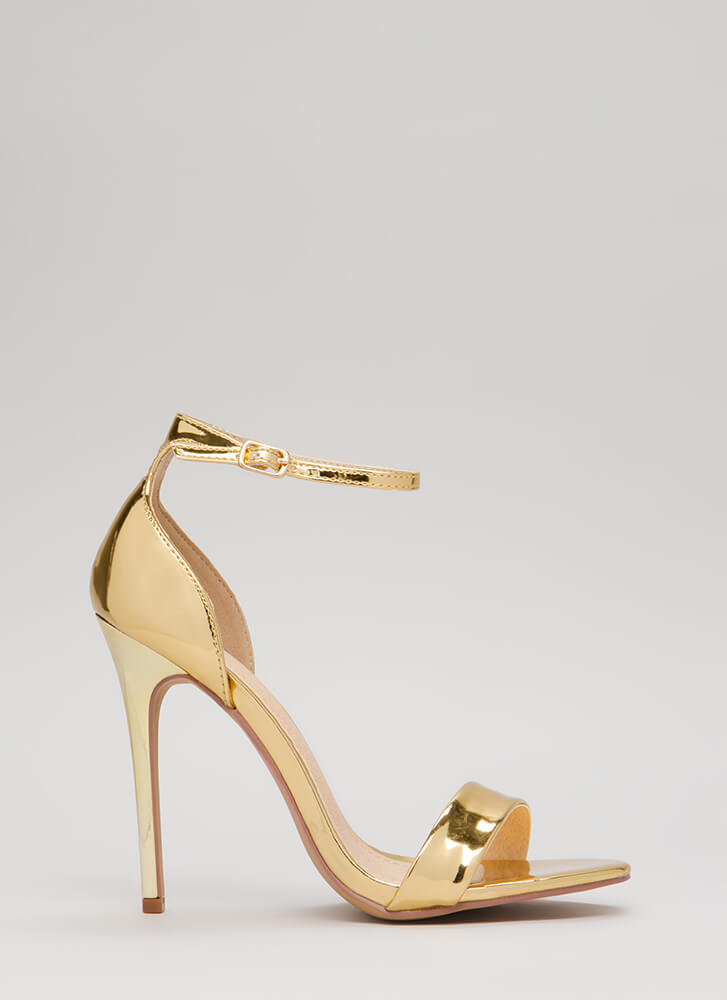 Stepping Out Strappy Metallic Heels GOLD