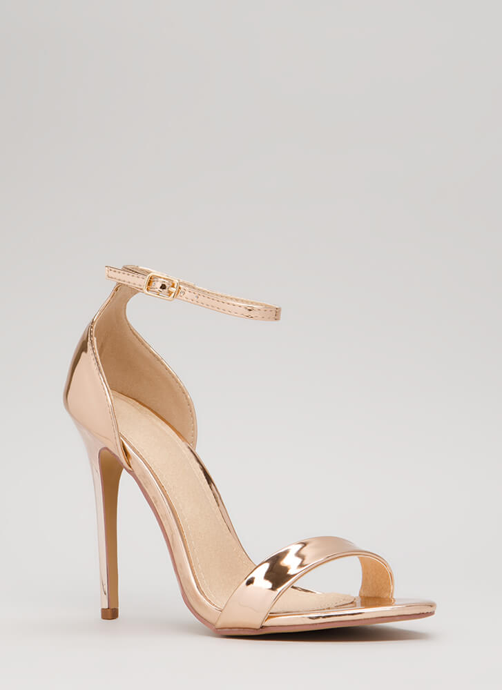Stepping Out Strappy Metallic Heels ROSEGOLD