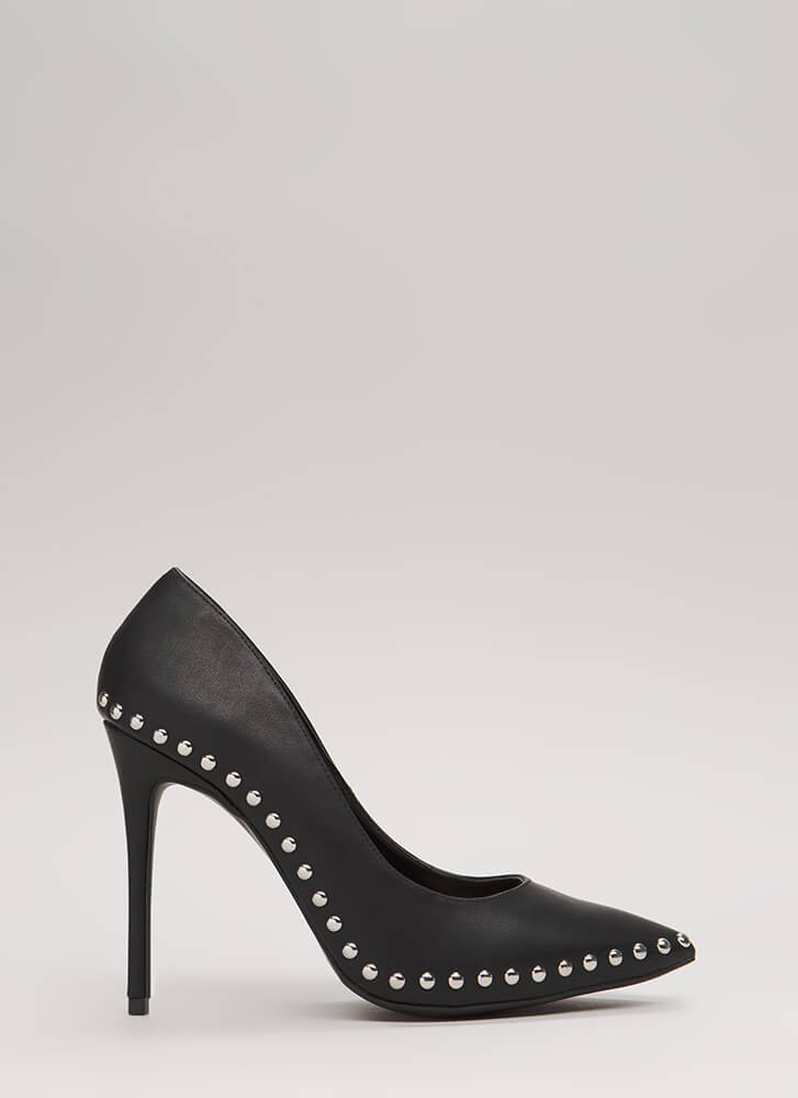 Studded Star Pointy Faux Leather Pumps BLACK