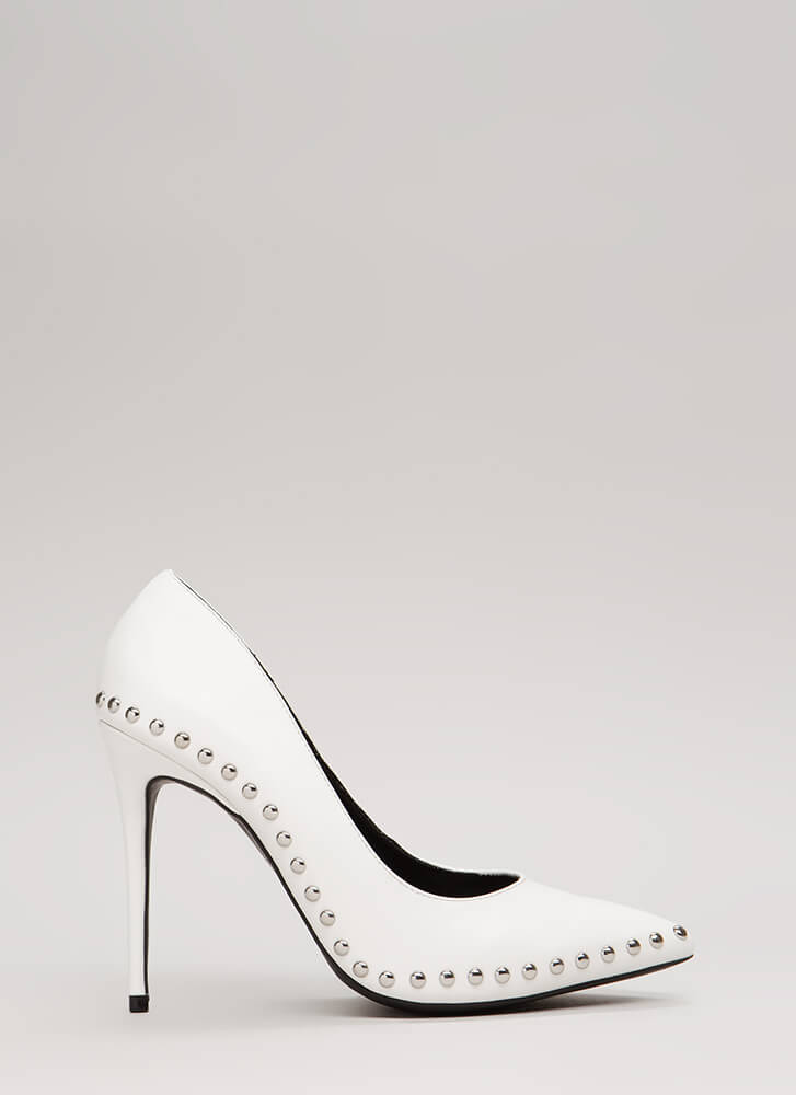 Studded Star Pointy Faux Leather Pumps WHITE
