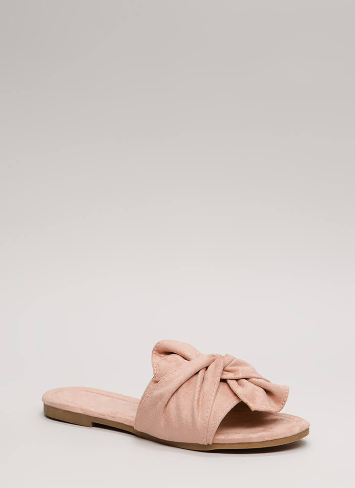 Kid You Knot Faux Suede Slide Sandals NUDE