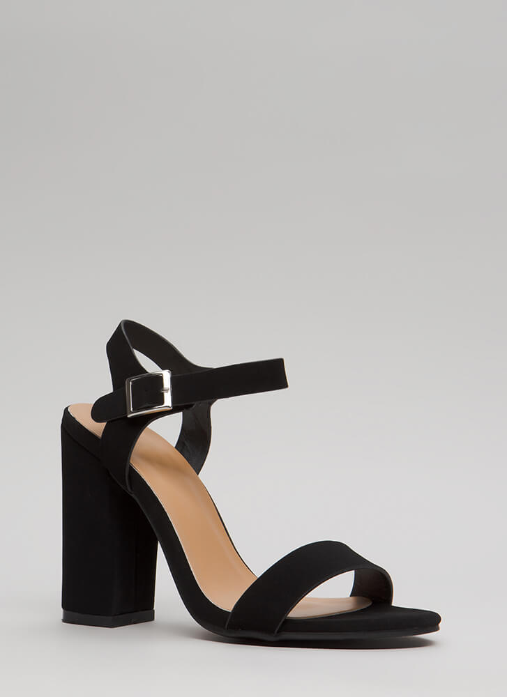 Top Influencer Faux Nubuck Chunky Heels BLACK