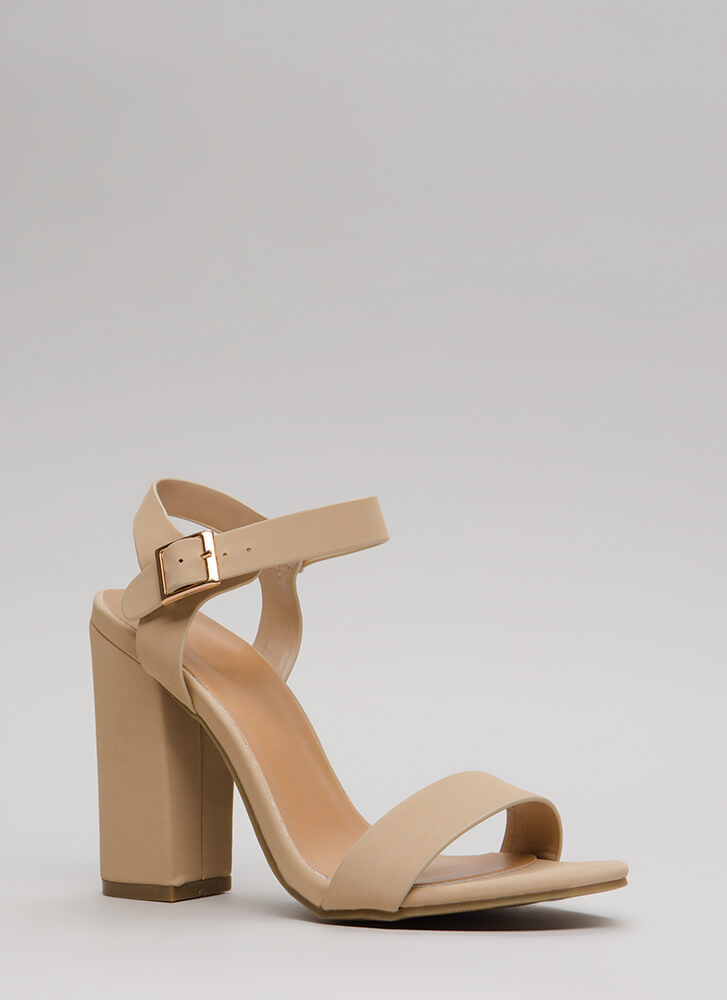 Top Influencer Faux Nubuck Chunky Heels NUDE
